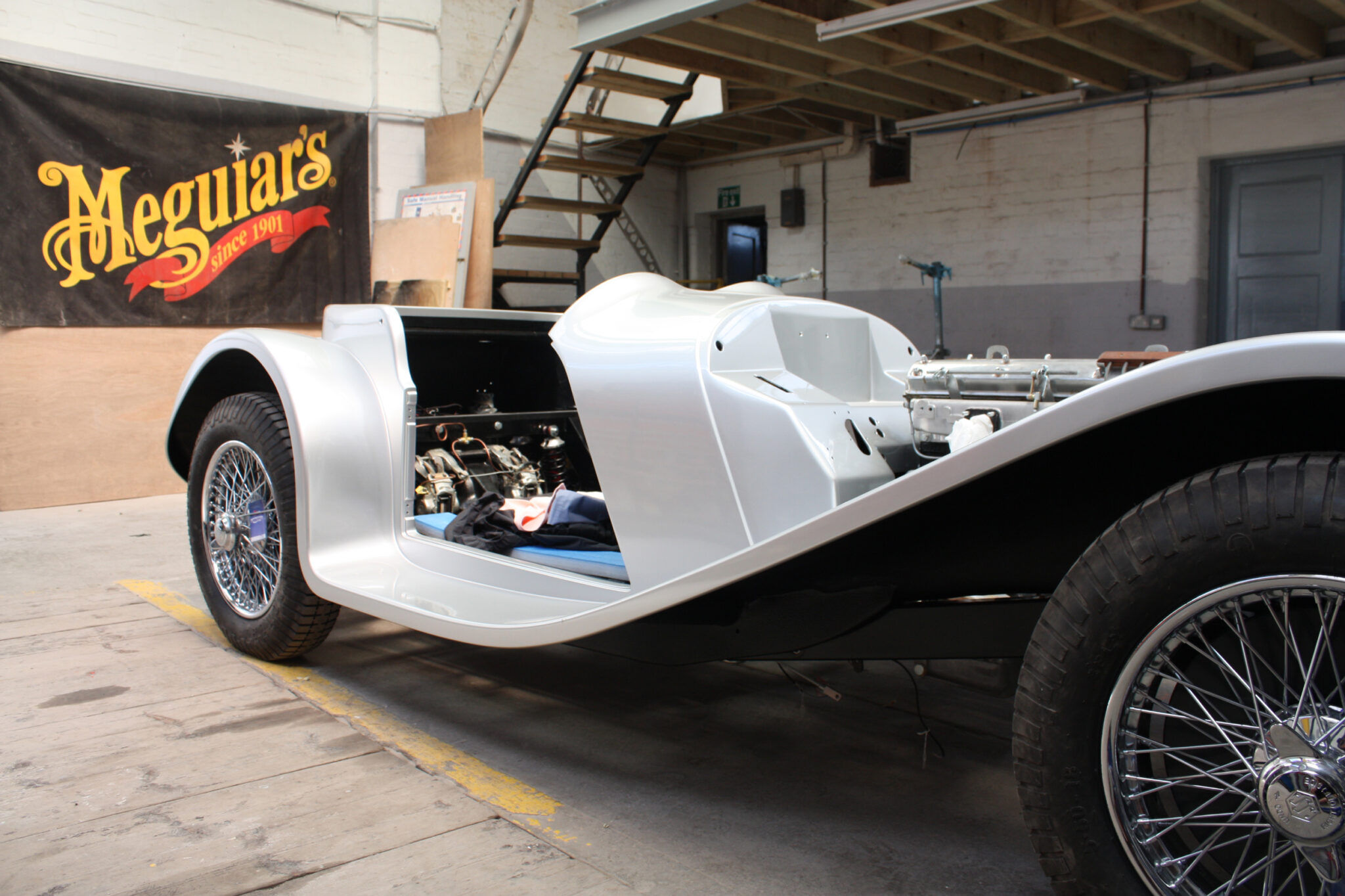 Custom Jaguar SS100 Prepared and painted fibre glass body from RHM Bodyshop, Launceston Cornwall